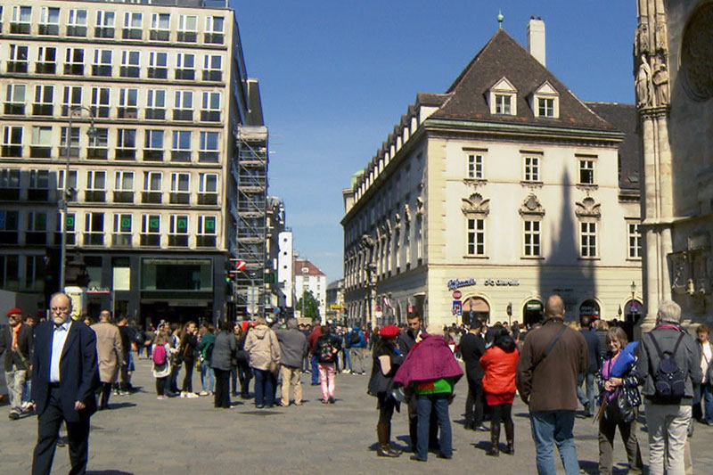 Mozart Kartenverkäufer am Stephansplatz