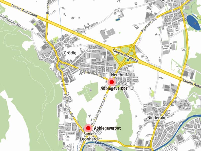 Karte von Grödig mit den neuen Abbiegeverboten