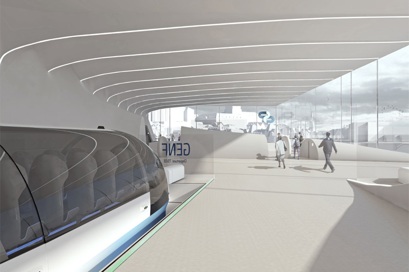 Modell eines Hyperloop-Bahnhofs