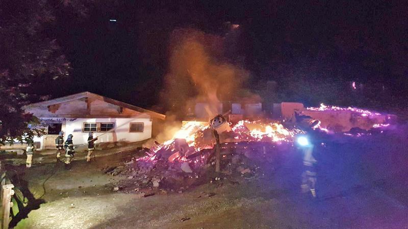 Brand einer hütte in Kelchsau