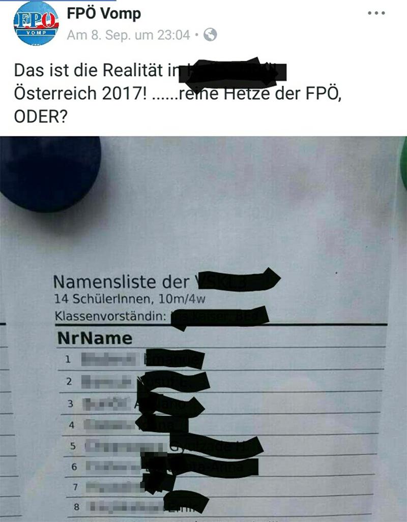 Facebook-Posting der FPÖ