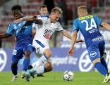 Blau Weiss Linz vs SC Wiener Neustadt. Image shows Samuel Oppong (Linz), Alexander Gruendler (Wr.Neustadt) and Markus Blutsch (Linz)
