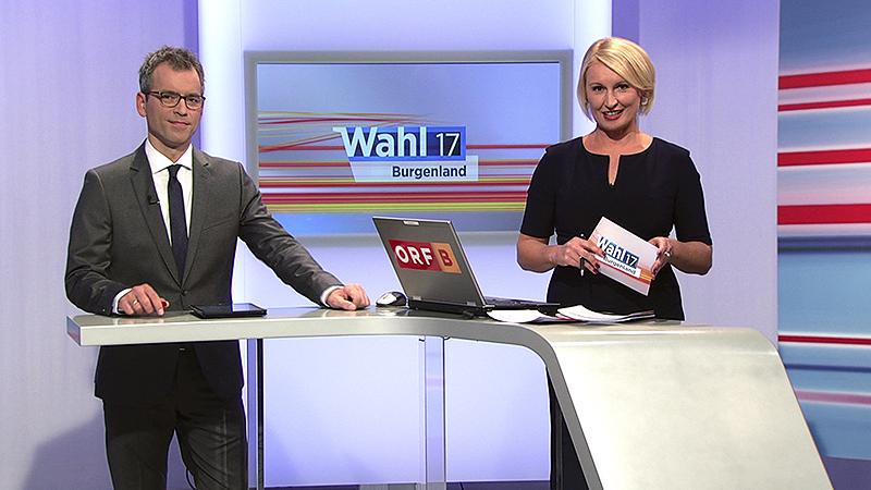 Martin Ganster und Elisabeth Pauer bei der Wahl-Sondersendung
