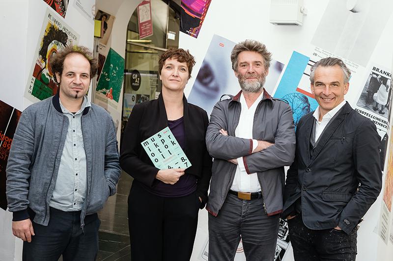 v.l.: Fränk Zimmer (Producer und Co-Kurator), Elke Tschaikner (Leiterin Ö1-Musikredaktion, Programmverantwortliche), Christian Scheib (Ö1, Co-Kurator) und Gernot Rath (ORF Steiermark-Kulturchef)