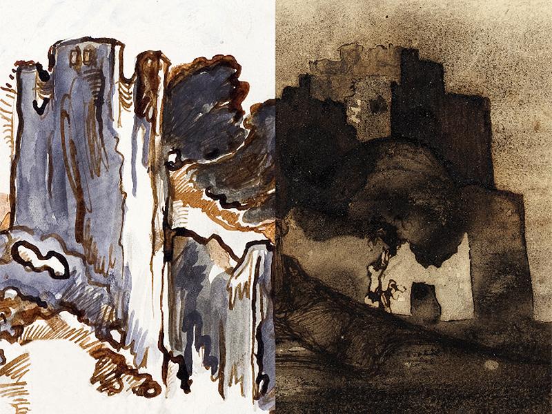 Montage: Günter Brus, Die Ruine, - Victor Hugo, Blick auf eine alte Festung.
