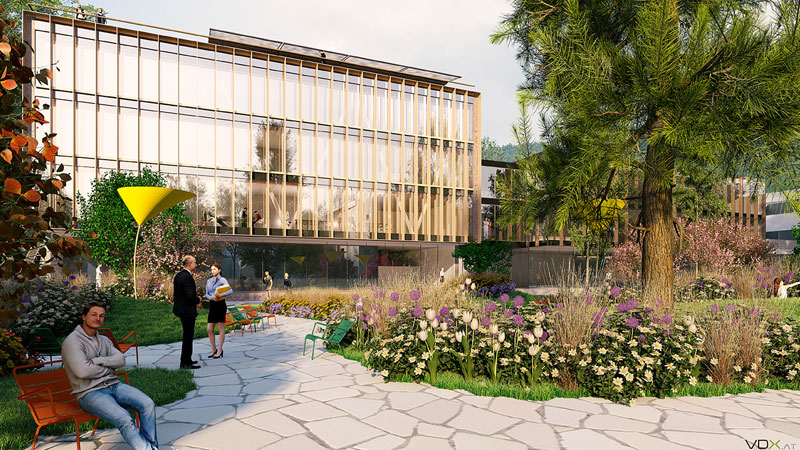 Grafik des geplanten neuen FH-Gebäudes (FH IV) in Kufstein