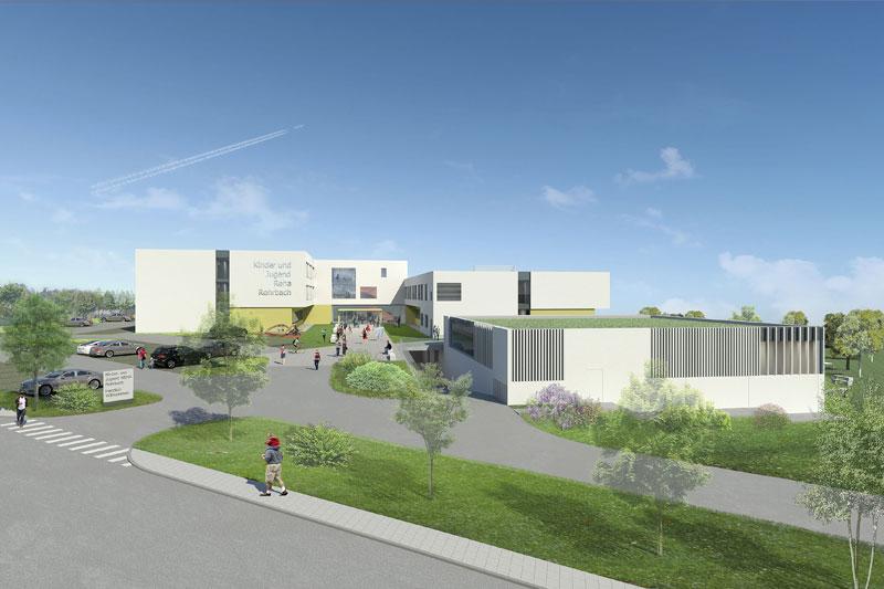 Die neue Kinder-Reha in Rohrbach Berg wird 77 neue Betten für junge PatientInnen sowie 67 Betten für ihre Begleitpersonen bieten.