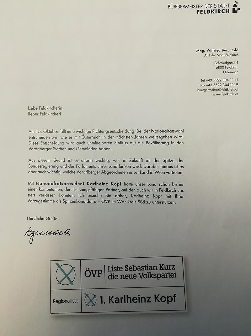Brief des Bürgermeisters