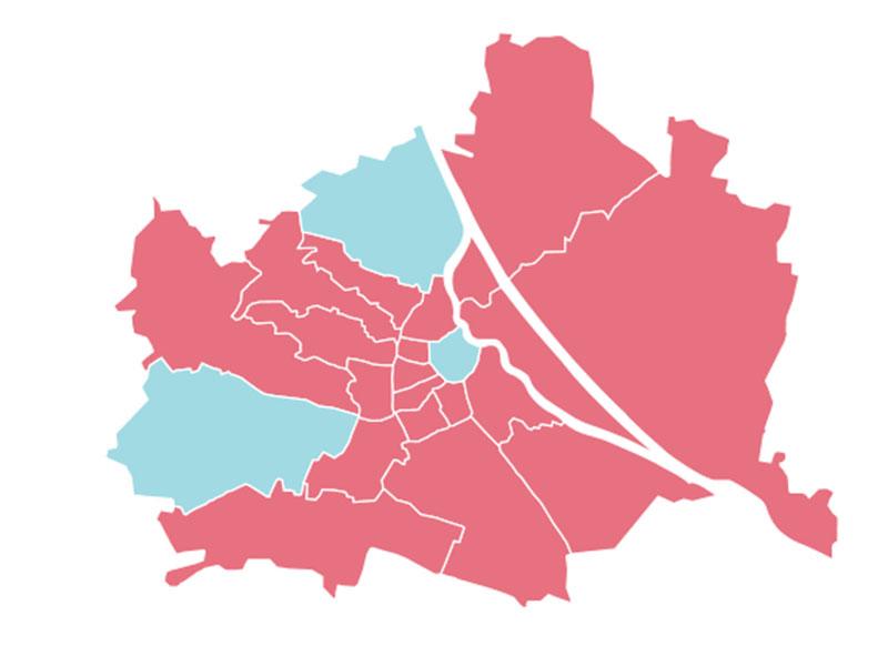 Nationalratswahl 2017: Die Wiener Bezirke ohne Wahlkarten