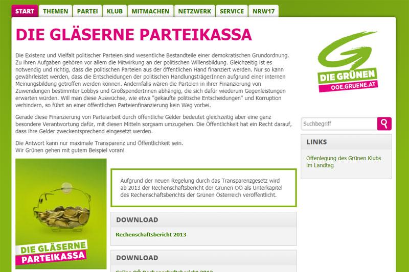 """Auf der Homepage der Grünen Oberösterreich ist seit einiger Zeit ein gläsernes Sparschwein, halbvoll mit Euromünzen, zu sehen, das die """"gläserne Parteikassa"""" symbolisieren soll."""