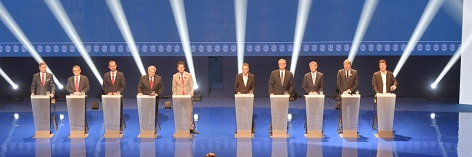 volební lídři svých stran při debatě na ČT