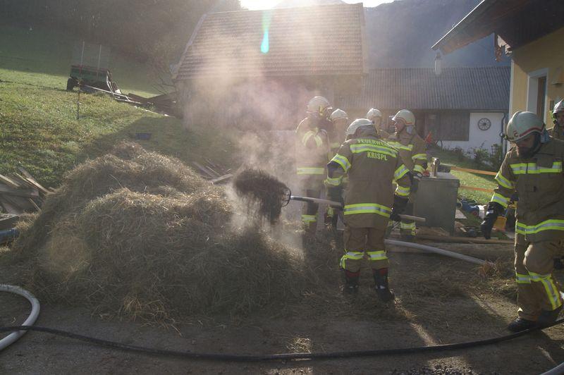 Feuerwehrleute mit Heu bei Tenne