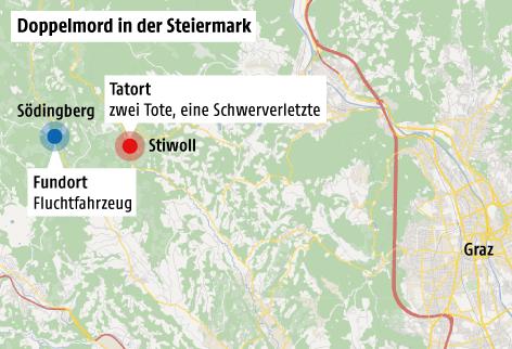 Karte zeigt Tatort und Fundort des Fluchtautos