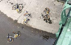 Leihräder im Wienfluss