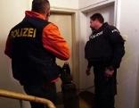 Polizei Einsatzteam (Polizisten) mit Hund vor Wohnungstür