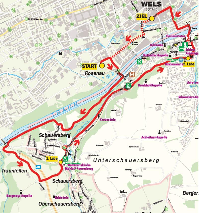 Strecke der Adventwanderung in Wels