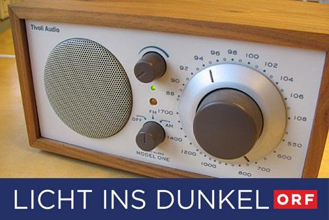 Tischradiogerät mit Licht ins Dunkel Logo