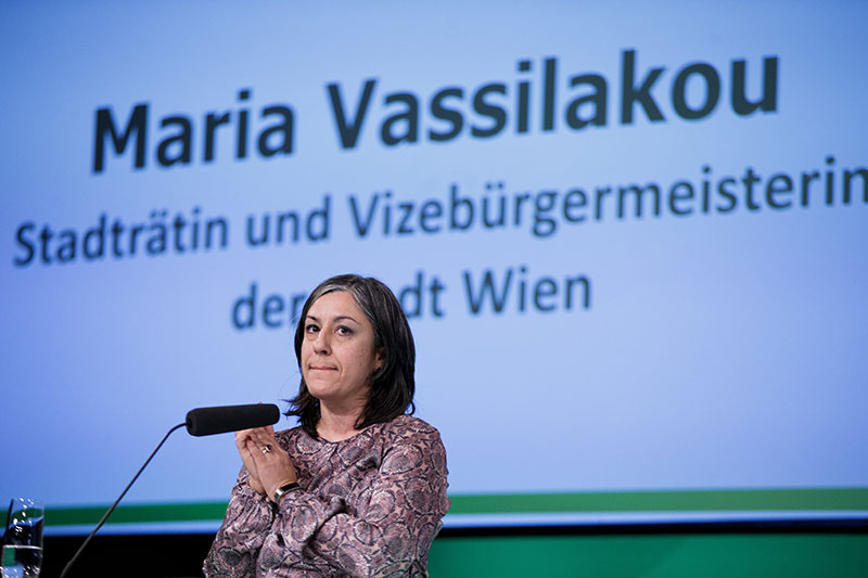 Maria Vassilakou bei der 78. Landesversammlujhng der Grünen Wien