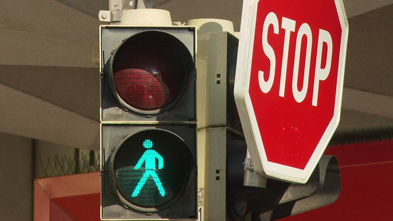 Fußgänger Ampel Stopp Grünes Licht