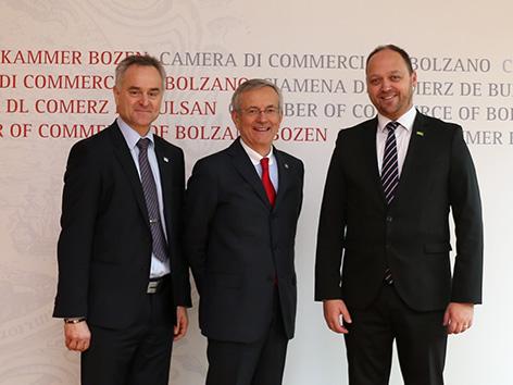Handslkammer bozen Ebner Michl SGZ Benjamin Wakounig GZS Boštjan Gorjup Južni Tirol delegacija gospodarska