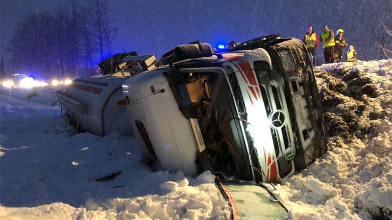 Lkw umgestürzt Unfall Rudener Straße Völkermarkt