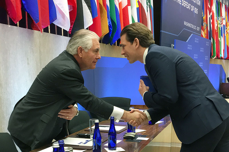 Rex Tillerson mit Sebastian Kurz