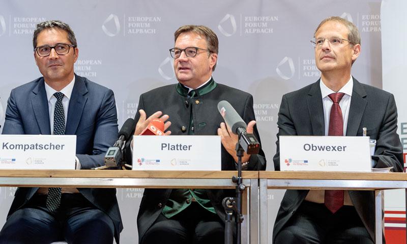 LH Arno Kompatscher, LH Günther Platter und Walter Obwexer