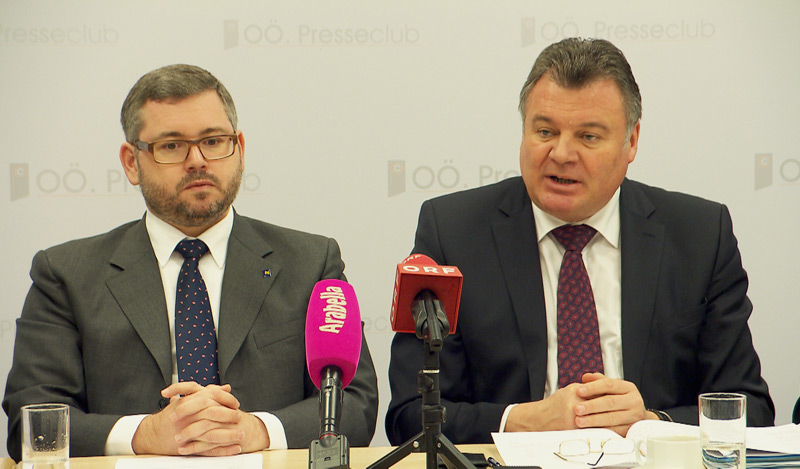 v.l. NÖ Straßenbaulandesrat Ludwig Schleritzko (ÖVP), Infrastrukturlandesrat Günther Steinkellner (FPÖ)