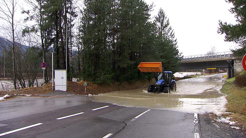 Föhnsturm Yves Hochwasser Gail bei Villach