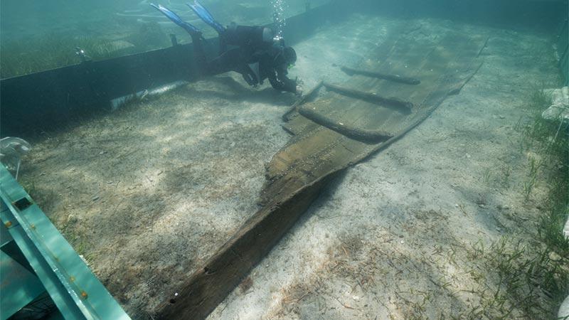 Römisches Schiff Ausstellung Triest
