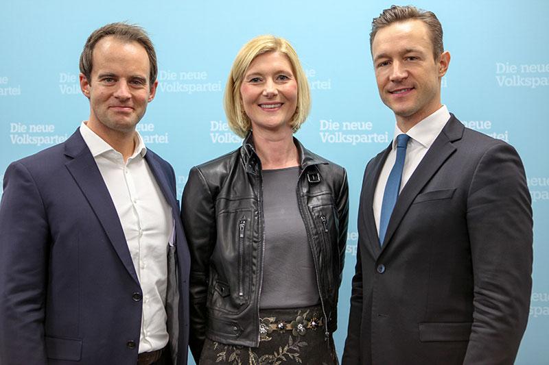 Markus Wölbitsch, Bernadette Arnoldner, Gernot Blümel (v.l.n.r.)