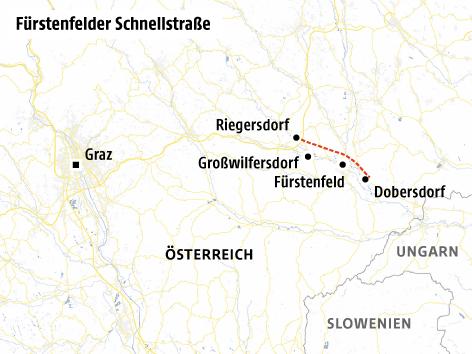Karte von der Fürstenfelder Schnellstraße