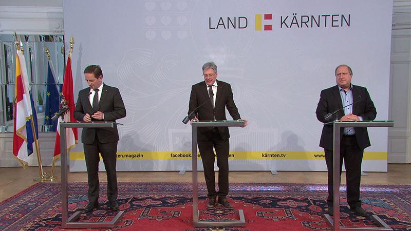Regierungssitzung Pressefoyer Benger Kaiser Holub