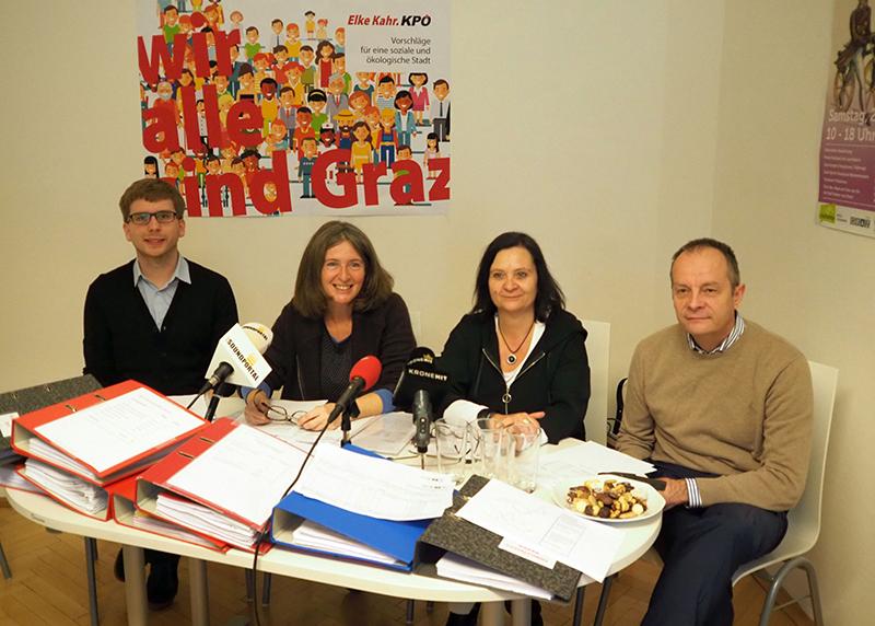 Tag der offenen Konten 2017 mit Stadtrat Robert Krotzer, Stadträtin Elke Kahr, Klubobfrau Claudia Klimt-Weithaler und LAbg. Werner Murgg (von links nach rechts)