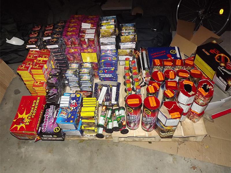 Die beschlagnahmten Feuerwerkskörper