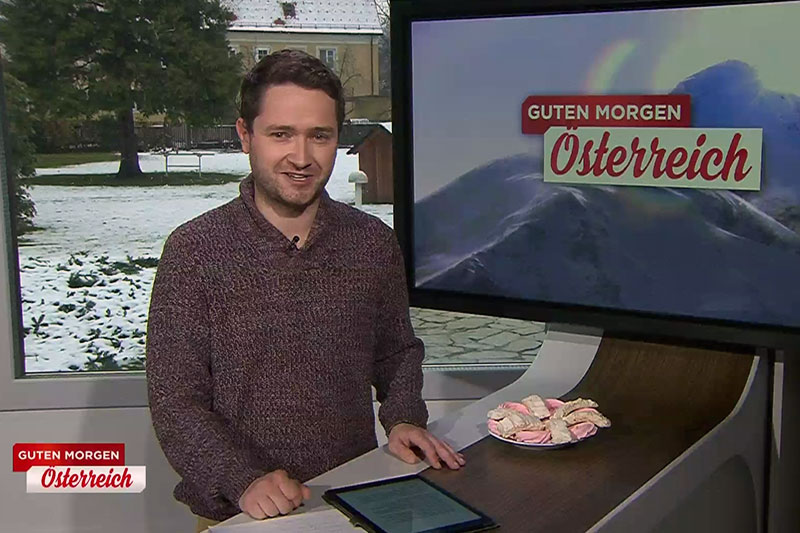 """Lukas Möschl im mobilen Studio von """"Guten Morgen Österreich"""""""