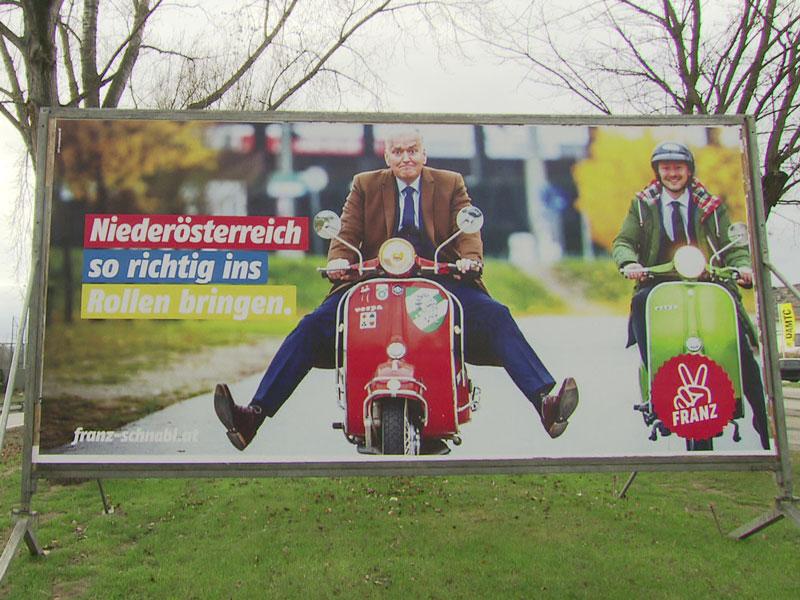 Franz Schnabl am Roller Wahlplakat