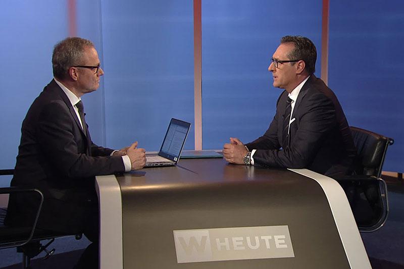"""Heinz Christian Strache beim """"Wien heute""""-Interview mit Paul Tesarek"""