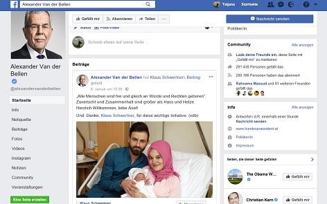 Screenshot der facebook-Seite von Bundespräsident Alexander Van der Bellen