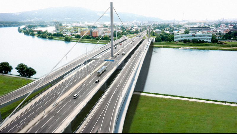 Voestbrücke vier Spuren