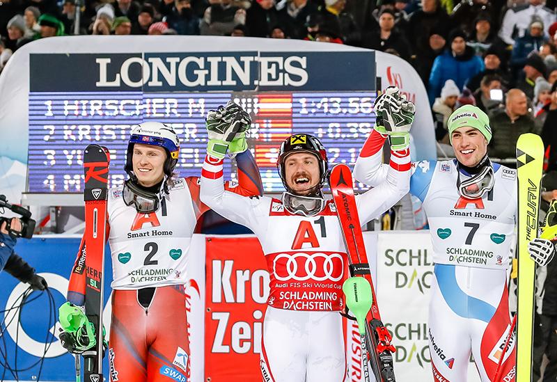 Von links: Henrik Kristoffersen (NOR, 2. Platz), Sieger Marcel Hirscher (AUT), Daniel Yule (SUI, 3. Platz) am Dienstag, 23. Jänner 2018, während des 2. Durchgangs im Slalom der Herren in Schladming.