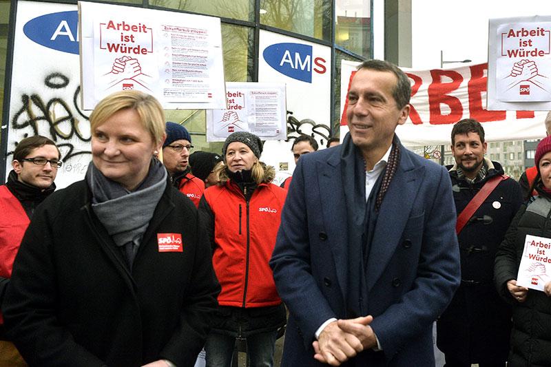Kern und Frauenberger bei AMS-Protest