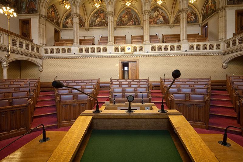 Sitzungssaal von Gemeinderat und Landtag im Wiener Rathaus