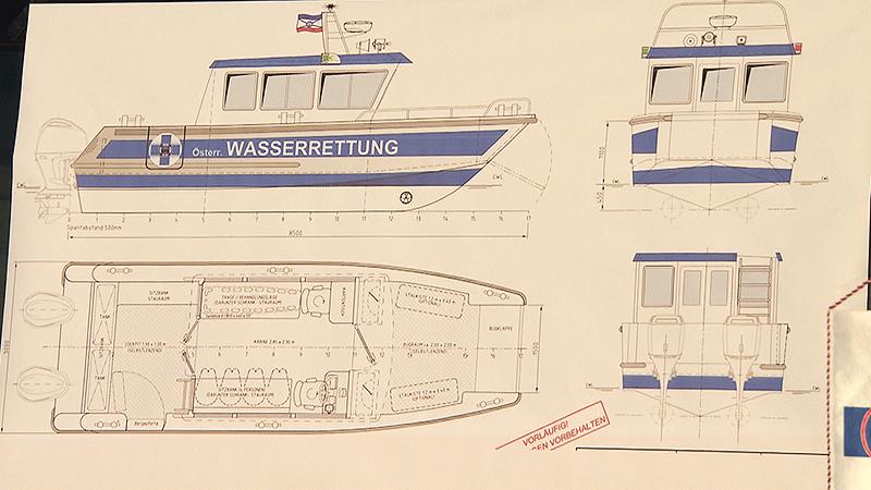 Plan für das neue Boot der Wasserrettung