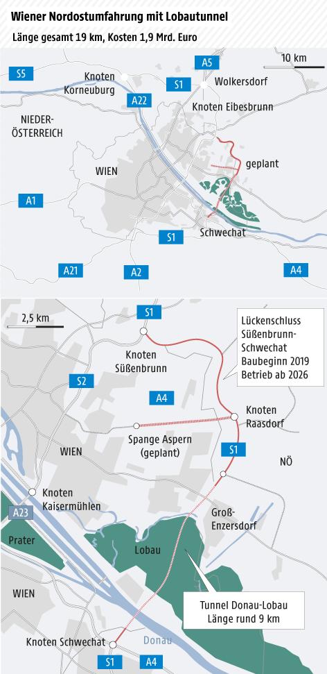 Übersichtskarte Großraum Wien mit Verkehrssnetz, Detailkarte Lobautunnel