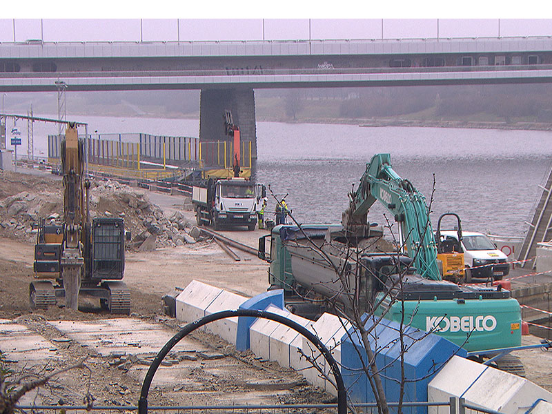 Baustelle Copa Beach bei der Reichsbrücke