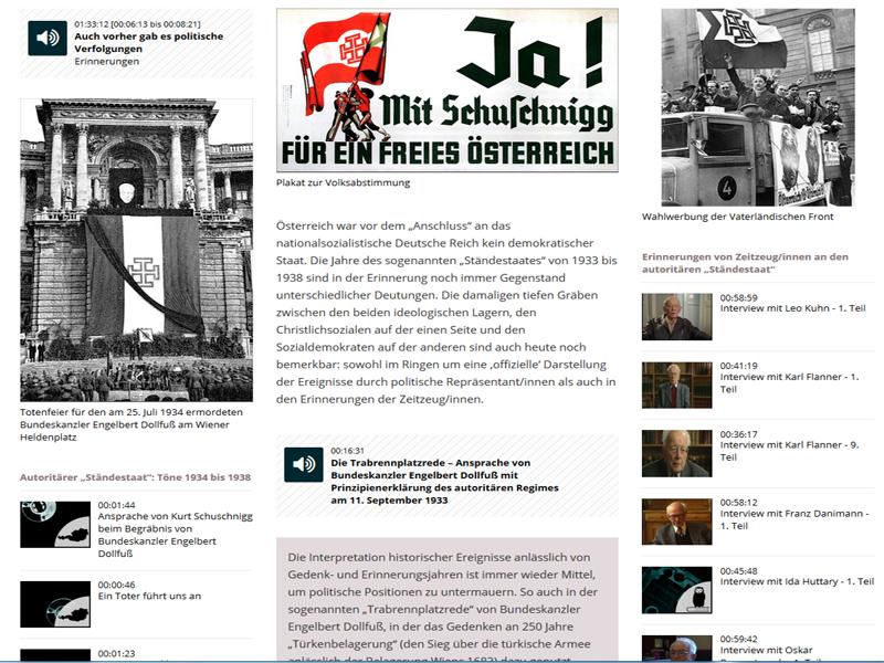 Screenshot Onlineplattform zum Gedenkjahr der Österreichischen Mediathek
