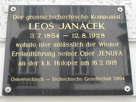 Gedenktafel Leos Janacek Hotel Post