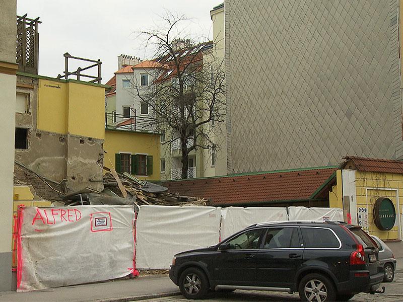 Baustelle nach Abriss des Gasthauses Landhaus in Ottakring