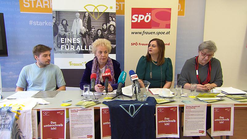 Christian Berger, Obmann Stv. Frauenvolksbegehren, Verena Dunst (SPÖ), Astrid Eisenkopf (SPÖ), BRin  Inge Posch-Gruska